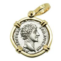 Roman Empire AD 148-149, Marcus Aurelius and Minerva denarius in 14k gold pendant.