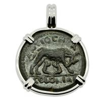 Roman Empire AD 161-180, She-Wolf with Twins and Marcus Aurelius bronze coin in 14k white gold pendant.