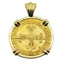 French 1498-1514, Ecu d'or au Soleil in 14k gold pendant.