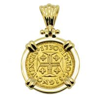 Portuguese 400 Reis dated 1730, with cross and crown in 14k gold pendant.