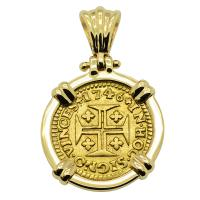 Portuguese 400 Reis dated 1746, with cross and crown in 14k gold pendant.