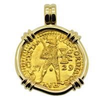 Dutch Ducat dated 1729 in 14k gold pendant, 1735 Dutch East Indiaman Shipwreck, Zealand.