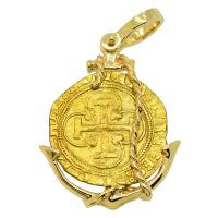 Spanish 1516-1556, Johanna and Charles I one escudo in 14k gold anchor pendant.