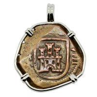 Spanish 8 maravedis dated 1619, in 14k white gold pendant.