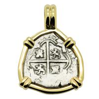 Spanish Madrid, King Philip V one real dated 1707, in 14k gold pendant.
