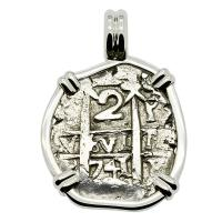 Colonial Spanish Peru, King Philip V two reales dated 1741, in 14k white gold pendant.