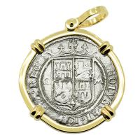 Spanish 2 reales 1542-1548 in 14k gold pendant, 1550 shipwreck Northern Caribbean Sea.