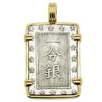 Japanese Shogun 1837-1868, Ichibu-Gin in 14k gold pendant.