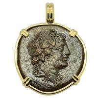 Greek 120-63 BC, God of Wine Dionysus and Cista Mystica bronze coin in 14k gold pendant.