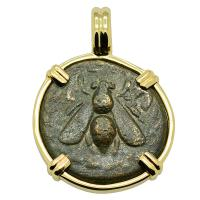 Greek Ephesus 190-150 BC, Bee and Stag bronze coin in 14k gold pendant.