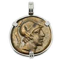 Greek 115-90 BC, Ares and Sword bronze coin in 14k white gold pendant.