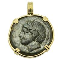 Greek Syracuse 317-289 BC, Persephone and Bull with Dolphins bronze coin in 14k gold pendant.