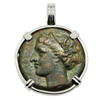 Greek Syracuse 274-269 BC, Persephone and Bull bronze coin in 14k white gold pendant.