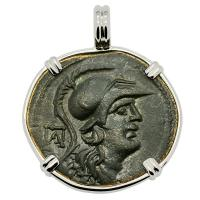 Greek 150-50 BC, Athena and Nike bronze coin in 14k white gold pendant.