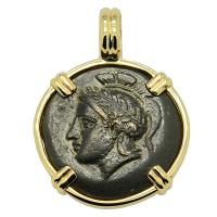 Greek 310-282 BC, Athena and Bulls bronze coin in 14k gold pendant