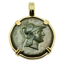 Greek 200-100 BC, Athena and Dionysus bronze coin in 14k gold pendant