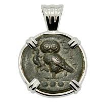 Greek Sicily 420-410 BC, Owl and Athena tetras in 14k white gold pendant.