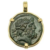 Greek 100-10 BC, Zeus and Nike bronze coin in 14k gold pendant.