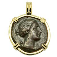 Greek Syracuse 317-289 BC, Artemis and winged lightning bolt bronze litra coin in 14k gold pendant.