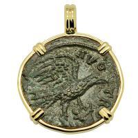 Roman Empire AD 250-268, Eagle and Tyche coin in 14k gold pendant.