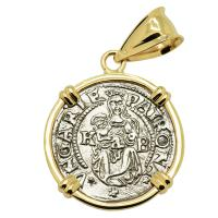 Hungarian dated 1540, Madonna and Child denar coin in 14k gold pendant.