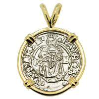 Hungarian dated 1547, Madonna and Child denar coin in 14k gold pendant.