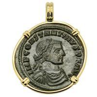 Roman Empire AD 315–316, Constantine and Jupiter follis in 14k gold pendant.