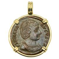 Roman Antioch AD 327–329, Saint Helena follis in 14k gold pendant.