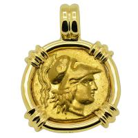 Greek 325-320 BC, Alexander the Great gold stater in 18k gold pendant.