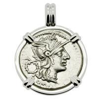 Roman Republic 128 BC, Roma and Victory chariot denarius in 14k white gold pendant.