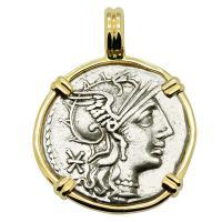 Roman Republic 132 BC, Roma and Victory chariot denarius in 14k gold pendant.