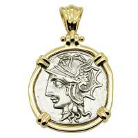 Roman Republic 104 BC, Roma and Saturn chariot denarius in 14k gold pendant.