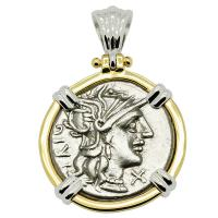 Roman Republic 142 BC, Roma and Juno chariot denarius in 14k white and yellow gold pendant.