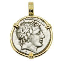 Roman Republic 86 BC, Apollo and Jupiter chariot denarius in 14k gold pendant.