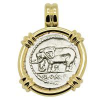 Roman Republic 81 BC, Elephant and Pietas denarius in 14k gold pendant.