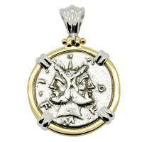 Roman Republic 120 BC, Janus and Roma denarius in 14k white and yellow gold pendant.
