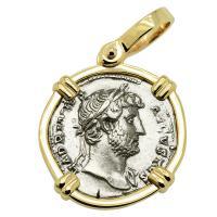 Roman Empire AD 124-128, Hadrian and Genius denarius in 14k gold pendant.