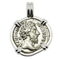 Roman Empire AD 174, Marcus Aurelius and Victoria denarius in 14k white gold pendant.