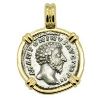 Roman Empire AD 163-164, Marcus Aurelius and Felicitas denarius in 14k gold pendant.