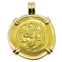 Byzantine AD 1059-1067, Jesus Christ and Constantine X gold nomisma in 14k gold pendant.