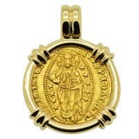 Venice 1400-1413, Jesus Christ and Saint Mark ducat in 14k gold pendant.