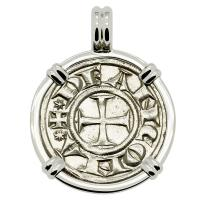 Ancona 1280-1320, Cross Pattee and Saint Judas Cyriacus grosso agontano in 14k white gold pendant.