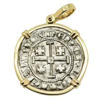 Cyprus 1285-1324, Henry II, last ruling King of Jerusalem, gros grand Crusader coin in 14k gold pendant.