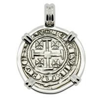 Cyprus 1324-1340, Gros Petit Crusader coin in 14k white gold pendant.