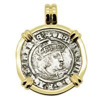English King Henry VIII 1526-1544, groat in 14k gold pendant.