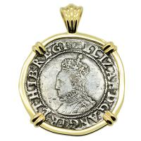 English 1595-1598, Elizabeth I shilling in 14k gold pendant.