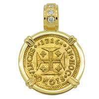 Portuguese 1000 Reis dated 1716, with cross and crown in 18k gold pendant with diamonds.