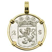 Dutch 2 stuivers dated 1785 in 14k gold pendant.