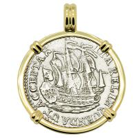 Dutch 6 stuivers ship shilling, dated 1791 in 14k gold pendant.