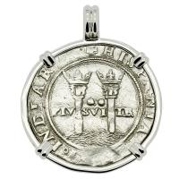 Colonial Spanish Mexico, Johanna and Charles I two reales 1548-1553, in 14k white gold pendant.